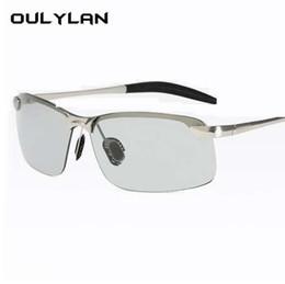 Sonnenbrille verfärbung online-Oulylan Photochrome Sonnenbrille Männer Polarisierte Chameleon Verfärbung Sonnenbrille Männlichen Randlosen Tag Nacht Fahren Sonnenbrille