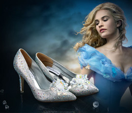 Wholesale Silver Wedges Rhinestones - High Quality New Diamond Crystal Wedding Shoes Sandals Wedges Princess Crystal Shoes Prom Women's Shoes For Banquet Party