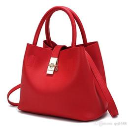 Wholesale Autumn Handbag - 2017 New Bags Handbag Women Fashion Autumn Shoulder Bag Designer Handbags High Quality PU Leather Ladies Bucket Casual Tote Bag
