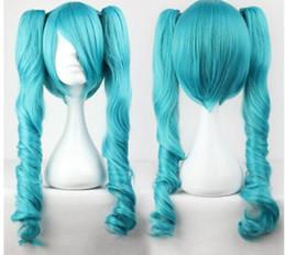 Peluca nueva vocaloid online-ENVÍO GRATIS +++ NUEVO Vocaloid Hatsune Miku Two Tone Curly Ponytails blue Full Cosplay Wig