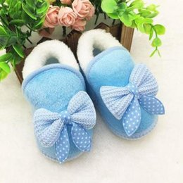 Wholesale Baby Girl Crib Boots - New Fashion Cloth+Plush Baby Girls Casual Blue Crib Shoes Toddler First Walker Warm Winter Boots Soft Sole Prewalker
