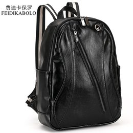Wholesale back school book bags - 2017 Men Leather Backpack For Laptop Male Business Mochilas Couro Masculina Motorcycle Back Pack Travel Rucksack School Book Bag