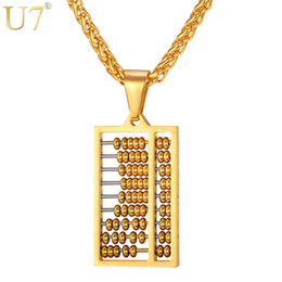 Wholesale Counting Abacus - whole saleU7 Abacus Necklace Gold Color Stainless Steel Ancient China Counting-frame Necklaces & Pendants For Men Women Gift Jewelry P762