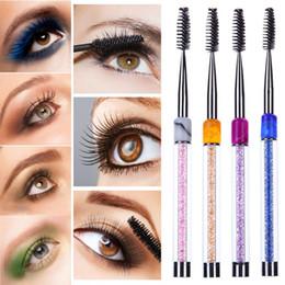 Strass de cílios on-line-Acrílico Rhinestone Micro Cílios Escova Mascara Reutilizável Sobrancelha Pincéis de Maquiagem Dos Olhos Extensão Da Pestana Mascara Eye Lashes Escova