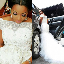 2019 weiße spitzenstile nigeria South African Plus Size Brautkleider Sexy Meerjungfrau Bateau Neck Perlen Perlen Brautkleid Tiered Tulle Lange Brautkleider