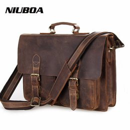 Wholesale Top Quality Notebooks - NIUBOA Genuine Leather Shoulder Bags Man Business Crossbody Bag Top Quality Crazy Horse Leather Briefcase Notebook Messenger Bag