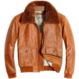 2019 зимние пальто Pilot Leather Jacket Men Vintage Flight Genuine Cowhide Leather Jacket Fur Collar Winter Russian Pilot  Coat дешево зимние пальто