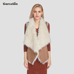 Wholesale Gray Suede Jacket - Gorgeion Suede Women Vest 2017 Autumn Winter Fashion Turn-down Collar Faux Fur Vest Warm Sleeveless Women Jacket Leather ZC-11