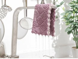 Toalha de mesa lisa on-line-Vanzlife Plain pano de prato de dupla face absorvente pano grosso toalha de mesa toalha de cozinha pano de limpeza wipes WS-35