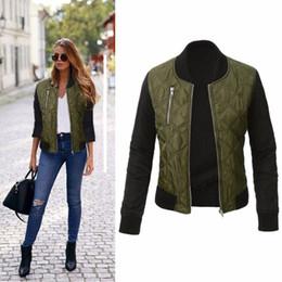 Parka mulher verde on-line-Puseky moda outono mulheres exército verde jaquetas parkas legal zíper para baixo jaqueta casacos streetwear patchwork motociclista outwear