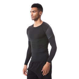 Wholesale Mens T Shirts Xxl - 2018 New Long-sleeved mens sports suits tights fitness running t shirt men Basketball training quick-drying compression t shirts
