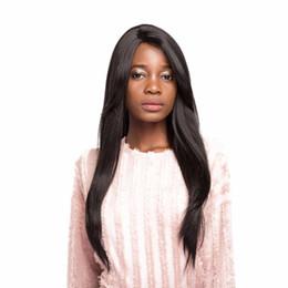 peinados parte media Rebajas Peluca de pelucas sintéticas con flequillo para mujeres negras Pequeño encaje frontal hecho a mano en la parte media de Toupee 28 pulgadas Nuevos peinados para cabello largo y liso