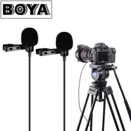 боя-микрофон Скидка BOYA BY-LM300 Dual-head Lavalier Lapel Microphone Clip-on Omni-directional Condenser Mic for Canon Nikon Sony DSLR Camcorder PC