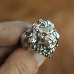 Wholesale mens animal rings - LINSION 925 Sterling Silver King of Lion Ring High Details Mens Biker Punk Ring TA109 US Size 7 to 15
