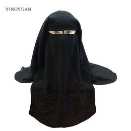 Voiles à tête noire en Ligne-Bandana Musulman Écharpe Islamique 3 couches Niqab Burqa Bonnet Hijab Cap Veil Chapeaux Noir Visage Abaya Style Cache-Tête S18101904
