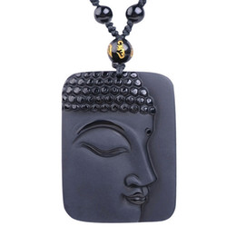 Wholesale Crystal Buddha Head - 100% Natural Obsidian Stone top fashion crystal pendant Buddha Buddha Head necklace Pendant gift for men and women