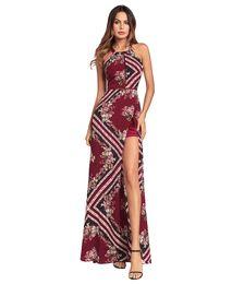Wholesale Hung Back Dress - Wholesale new sexy open back slit dress hanging neck stitching irregular large swing dress spring and summer new style