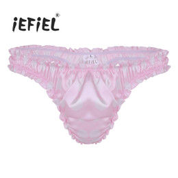 Mens Lingerie Soft Satin Polka Dot Shiny Ruffled Frilly Sissy Underwear  High Cut Low Rise Bikini Briefs Thong Gay Sexy Panties 719a0487c