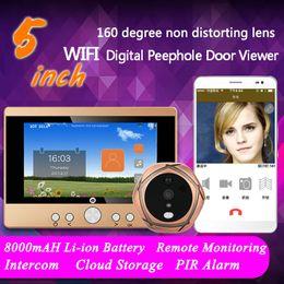 """Visualizzatore porta digitale senza fili online-720 P WiFi Wireless Digital Peephole Door Viewer 5 """"Front Door Peephole Camera Wifi campanello con citofono o scattare foto per la spedizione gratuita"""