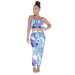 boho outfits Coupons - Ruffles Boho Summer Beach 2 Piece Outfits Print Two Piece Pants Sets Women Strapless Crop Top Pant Sets Sashes Trouser Suits 3XL