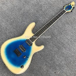 ebony fingerboard neck Coupons - Blue and Cream Mayones 6 Strings Electric Guitar with Quilted Maple Top,Ebony fingerboard Neck through Abalone binding Guitar