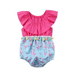 Saltadores de niños pequeños online-New Infant Toddler Newborn Flamingo Baby Girls Romper Jumpsuit Jumper Kids One Piece Outfit Ruffled Summer Clothes