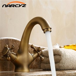 Wholesale Ceramic Bathroom Wash Basin - Free shipping Double Handle Crystal Gold Bathroom Basin Tap Sink Faucet Water Faucet Antique Gold Wash Basin 7304