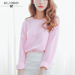 Wholesale Solid Colored Shirts - College Wind Fashion 2017 Autumn New Women T Shirt Casual Loose Cotton Candy-colored Bat Sleeve Short T-shirt Female Tops Tees