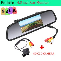 "Lcd monitores china on-line-Monitor video do estacionamento do automóvel de HD do carro de GPS Podofo, 4 câmera de opinião traseira do carro do CCD da visão nocturna do diodo emissor de luz, monitor do espelho de Rearview do carro de 4.3 ""TFT LCD"