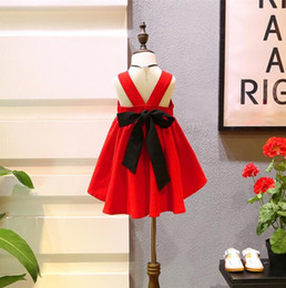 Wholesale sexy girls briefs - New Korean styles girl clothing kids girl dress back hollow out with bow red girl dress summer elegant sexy girl's dressess