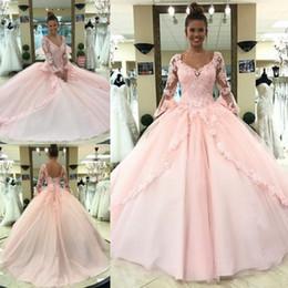 2019 corsé princesa rosa Recién llegado de rosa quinceañera vestidos 2018 princesa Ball vestido de manga larga escarpada apliques de cuello en v dulce 15 desfile de vestidos de fiesta corsé corsé princesa rosa baratos