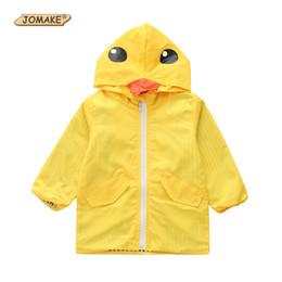 Chicos chaquetas amarillas online-JOMAKE Niños Chubasquero 2018 Otoño Ropa para niños Chaquetas con capucha de pato amarillo lindo Niñas Niños Chubasquero de manga larga Prendas de abrigo