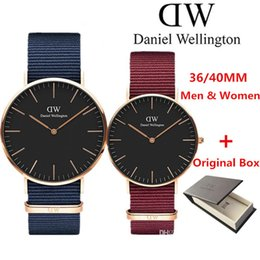 Wholesale watch multicolor - New Daniel watches 40mm Men watches 36mm women watches Luxury Brand Quartz Watch Female Clock Relogio Montre Femme Wristwatches NATO watch