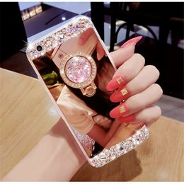 Wholesale Luxury Handmade Iphone Case - Luxury Handmade Holder Case Bling Diamond Crystal Cover With Kickstand Mirror Phone Case For iPhone X 8 7 6 6S Plus Samsung S8 S7 edge
