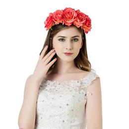 Цветочная роза цветочная корона оголовье онлайн-1PC Fashion Elegant Garlands Women Rose Flower Wreath Crown Headband Beach Floral Garlands Hairband Wedding Band Accessories