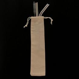 Sacos limpos on-line-Combinação Livre !! Embalagem personalizada do saco 4 + 1 canudos de aço inoxidável reutilizáveis conjunto Canudos de metal conjunto com escova de limpeza