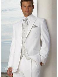 2019 novios, boda, ropa Nueva venta superior de dos botones pico solapa novio blanco esmoquin padrino de boda hombres trajes de boda ropa de baile (chaqueta + pantalones + chaleco + corbata) 358 rebajas novios, boda, ropa
