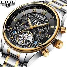 механические часы Скидка LIGE Марка мужские часы автоматические механические турбийон классические часы мужчины полный стальной бизнес наручные часы человек Relojes Hombre 2017 D18101002