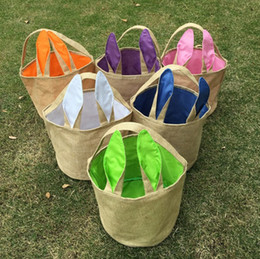 Wholesale Cute Clothes For Kids - Easter Bunny Bags 21*23CM 6 Colors Rabit Ears Bucket Baskets Burlap Storage Bag DIY Funny Cute Easter Hand bag Tote Bag for Children Kid
