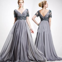 Wholesale Quinceanera Mothers Dress - 2018 Charming Chiffon gray chiffon appliques long mother prom dresses Short Sleeves silver gown Custom Made evening Dress