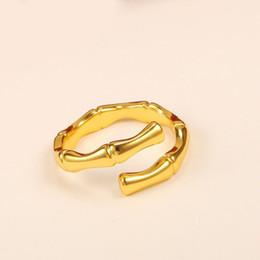 gioielli in miniatura all'ingrosso Sconti MGFam (259R) Anelli con nodo di bambù (Openning) per donna, uomini, classici, 24k, placcato oro, gioielli personali