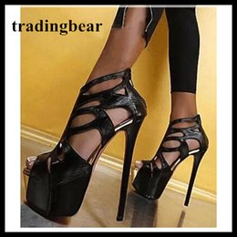 Wholesale Women Career Wear - Sexy Black Strappy Cut Out Platform High Heels Prom Shoes Nightclub Wear Designer Shoes 16cm 2018 Summer size 34 to 40