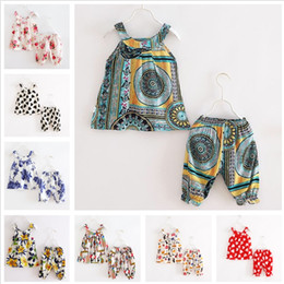 Wholesale Old Clothing Brands - Baby Girls 2PCS Set Artificial Cotton Clothing Summer Panties Sleeveless Top toddler clothes Colorful Print 1-3 Years Old