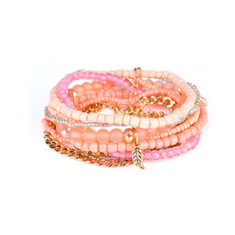 Ювелирные украшения стиля boho онлайн-FUNIQUE 2018 Bohemian Style Vintage Leaf Charm  Bracelets Jewelry Gift Boho Multilayer Simulated Pearl Bracelet For Women