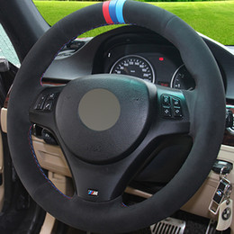 Wholesale Bmw Steering Wheel Cover - New Black Suede DIY Hand-stitched Car Steering Wheel Cover for BMW E90 320i 325i 330i 335i