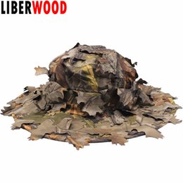Wholesale camouflage caps hunting - LIBERWOOD Jungle Sniper Hat 3D Real Tree Leaf Camo Hunting Hats Cap Airsoft Caps Fall Leaf Sneaky Camouflage Hunter Outdoor Caps