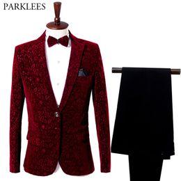 costume de chanteur de scène Promotion Vin Rouge Floral Suit Blazer Hommes 2018 Mode Groomsman Marié Mariage 2 Pièce Costume (Veste + Pantalon) Hommes Party Stage Costume Chanteur