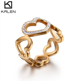 Wholesale tension lover - KALEN Rings For Women Lover Romantic Heart Engagement Stainless Steel Jewelry (US Size #6 to #9)