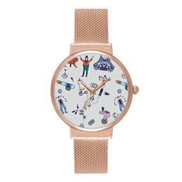 Wholesale nude ladies art - 2018 New Fashion Watches Women Luxury Brand pop art fun circus printed Bracelet super thin Watches Ladies Quartz Dress Watches Reloj Mujer