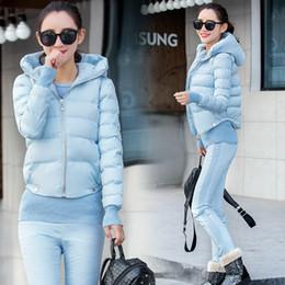 Wholesale Hooded Vests For Women - tracksuit for women 2017 winter women's cotton-hooded slim coat jacket vest+crop tops+cotton pants suits female 3 piece sets